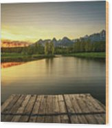 Sunset Above A Lake In High Tatra Mountains In Slovakia Wood Print