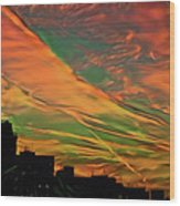 Sunset Above City After A Thunder-storm Wood Print