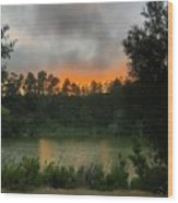 Sunset Above The Forest And Lake Wood Print
