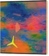 Sunset Abstract With Windmill Wood Print