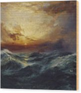 Sunset After A Storm Wood Print by Thomas Moran
