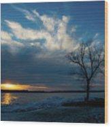 Sunset Along The Mississippi River Wood Print