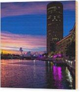 Sunset Along The Riverwalk Wood Print