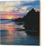 Sunset And Clouds Over Crescent Beach Wood Print