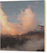 Sunset And Clouds Over The Summit Wood Print
