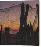 Sunset And Fishing Net Cape May New Jersey Wood Print