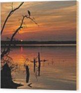 Sunset And Heron Wood Print