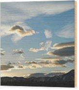 Sunset And Iridescent Cloud Wood Print