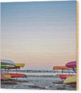 Sunset And Kayaks Wood Print