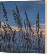 Sunset And Moonrise Over The Ocean Wood Print