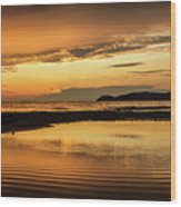 Sunset And Reflection Wood Print