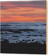 Sunset And Rocks Wood Print