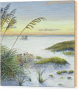 Sunset And Sea Oats At Siesta Key Public Beach -wide Wood Print
