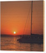 Sunset And Silhouette Wood Print