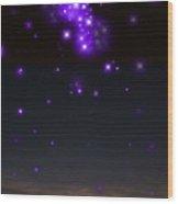 Sunset And Stars Wood Print