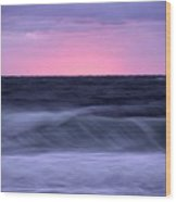 Sunset And Storm Surf On The Gulf Wood Print