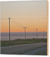 Sunset And Telephone Wires Wood Print