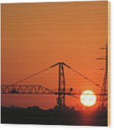 Sunset And Tower Crane Wood Print