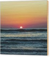 Sunset And Waves Wood Print