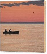 Sunset Anglers Wood Print