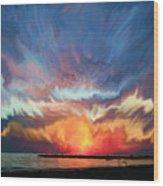 Sunset Art Landscape Wood Print