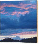 Sunset Art Print Blue Twilight Clouds Pink Glowing Light Over Mountains Wood Print