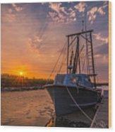 Sunset At Alviso Wood Print