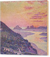 Sunset At Ambleteuse Pas-de-calais Wood Print by Theo van Rysselberghe
