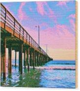 Sunset At Avila Beach Pier Wood Print