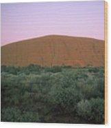 Sunset At Ayre's Rock Wood Print