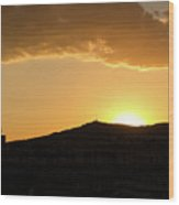 Sunset At Barcelona Wood Print