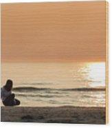 Sunset At Beach Wood Print
