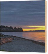 Sunset At Birch Bay State Park Wood Print