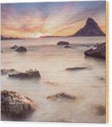 Sunset At Bleik Wood Print