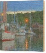 Sunset At Boothbay Harbor Maine Wood Print