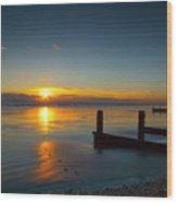 Sunset At Brackesham Bay ,west Sussex ,england  Wood Print