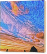 Sunset At Cannon Beach Wood Print