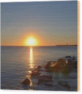 Sunset At Cape May Beach Wood Print