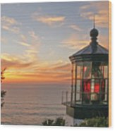 Sunset At Cape Meares Wood Print