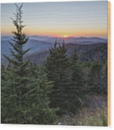 Sunset At Clingmans Dome Wood Print