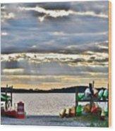 Sunset At Coastal Kayak Wood Print