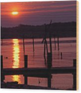 Sunset At Colonial Beach Wood Print by Clayton Bruster