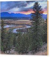 Sunset At Columbia Wetlands Wood Print
