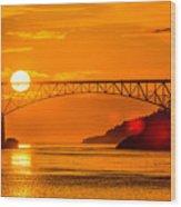 Sunset At Deception Pass Bridge Wood Print