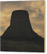 Sunset At Devils Tower Wood Print