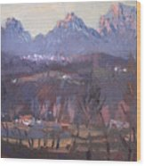 Sunset At Dolomites Belluno Wood Print