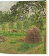Sunset At Eragny Wood Print by Camille Pissarro