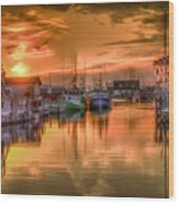 Sunset At Fisherman's Cove Wood Print
