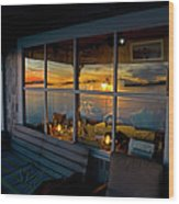 Sunset At Fletchers Camp Wood Print by Charles Harden