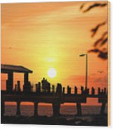 Sunset At Fort De Soto Fishing Pier Pinellas County Park St. Petersburg Florida Wood Print